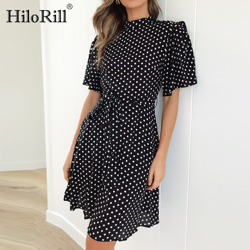 Boho Polka Dot Print Summer Beach Dress Women Casual Short Sleeve O-Neck Office Ladies Dresses Sexy Slim A-Line Mini Party Dress