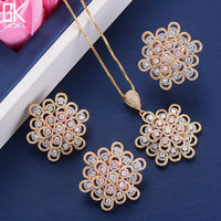 GODKI Luxury Flower Ring Necklace Earring Sets Cubic Zircon Crystal CZ Jewelry Sets For Women Wedding Indian Bridal Jewelry Set
