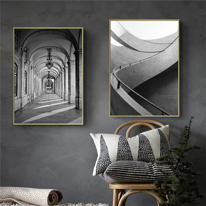 Black White Building Canvas Poster Abstract Nordic Decoration Wall Art Print