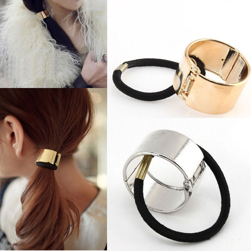 2017 Direct Selling Promotion Round Trendy Punk Metal Hair Cuff Stretch Ponytail Holder Elastic Rope Band Tie For Women