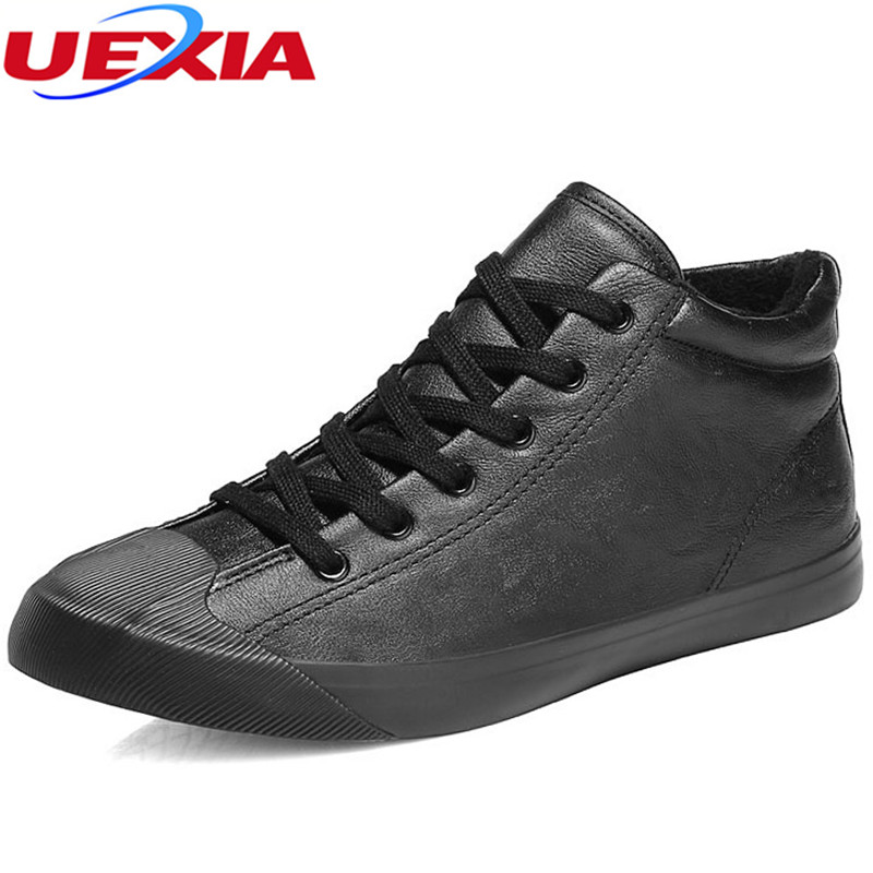 UEXIA New Warm Men Snow Boots Solid Color Plush Inside Fabric Anti-collision toes Lace-up Ankle Boots Male Outdoor Casual Winter 2017 new  warm solid anti slip snow