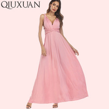 QIUXUAN Fashion Summer Sleeveless Maxi Party Dress Multiway Swing Dress Long  Straps Convertible Infinity Robe Wrap 1d73bce7c3d8