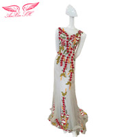 AnXin SH Princess Grey Lace Red Flower Evening Dress Lace Embroidery Flower Mermaid Evening Dress 100