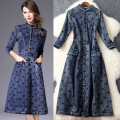2016 Autumn Women dress  new stand collar embroidery seven points sleeve Demin Dresss T6013
