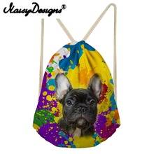 NOISYDESIGNS Cute Animal Pug Dog Watercolor Printing space Drawstring Backpack For Teenagers bags Women Soft day pack Mochila