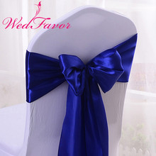 WedFavor 100pcs Royal Blue Wedding Chair Bow Ties Satin Chair Sashes For Banquet Hotel Event Decoration