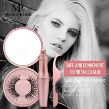 Music Rose 3pcs/set 3D Magnet False Eyelashes with Tweezers Eyeliner Set Free Glue Reusable Natural Gift