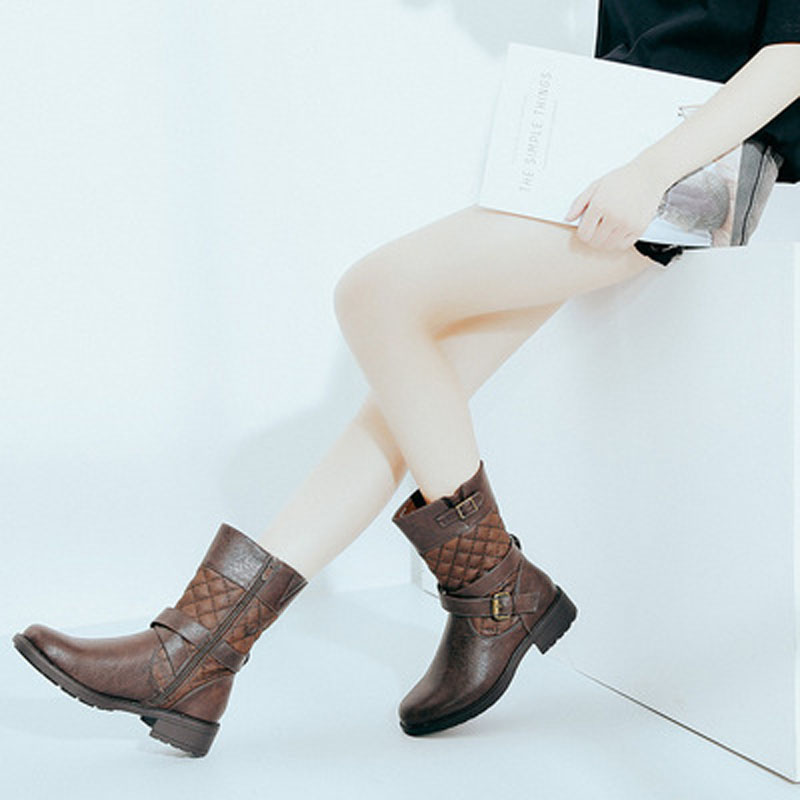 Bottes Mode Basse Cheville Moto Chaussures De forme Botas Talons Femmes Plate Rose Y0797036q Brown Automne Femme vp0qwS