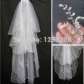Venta caliente de la Chispa 2 capas Perlas Blanco Marfil Wedding el Velo Nupcial Con El Peine Para Headwear Nupcial Accesorios