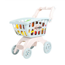Kids Simulation Shopping Mall Supermarket Cart Trolley Toy Handcart Pretend Play House 1pcs Shopping Cart 22 Pieces Accessoires(China)