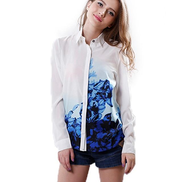 8fb185d2b70 US $3.88 |Vrouwen Chiffon Blauw Shirts Bloemen Patroon Turn down Kraag  Chiffon zomer Blouse Dames mode blouse Shirts in Vrouwen Chiffon Blauw  Shirts ...