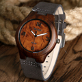 Vintage High Quality Nature Wood Watch Handmade Bamboo Wooden Wrist Watch Men's Clock With Genuine Leather Strap Gift