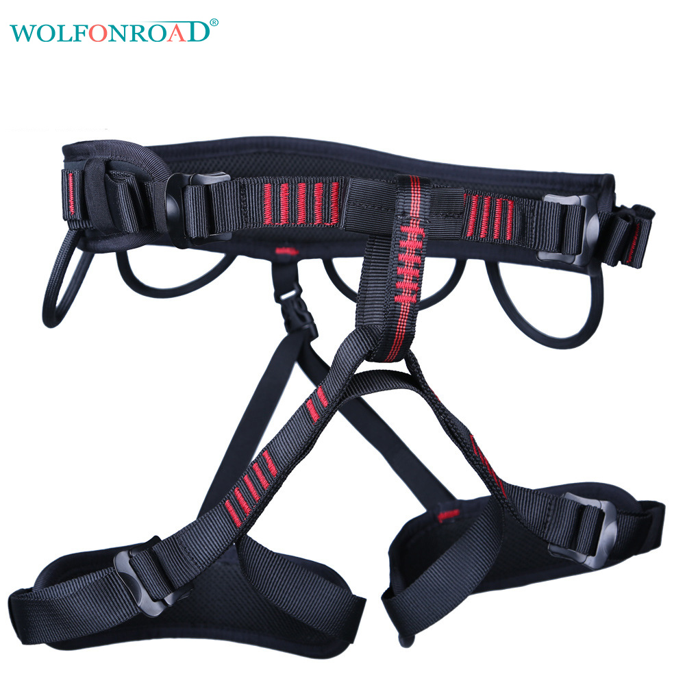 WOLFONROAD Tree Climbing Harness Rescue Seat Belt Rock Climbing Harnesses For Rope Ascents Half Body Belts
