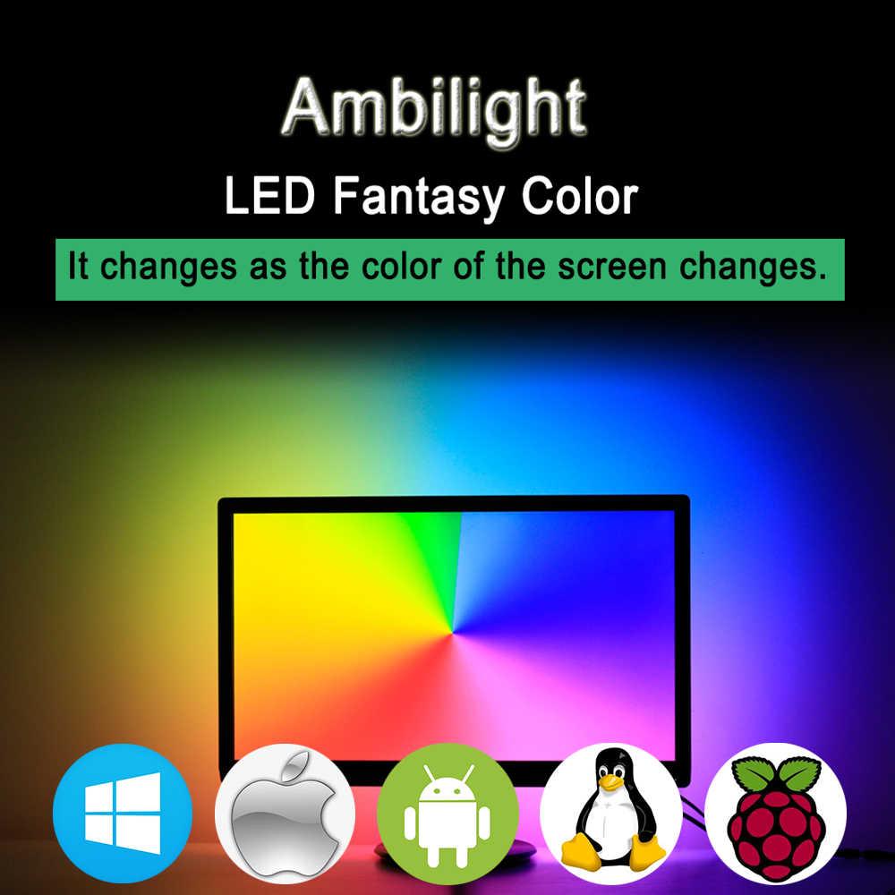 ws2812 RGB USB LED Strip light HDTV TV Monitor Desktop PC Screen Backlight  lighting Ambilight ws2812b Tape Ribbon String 1M~ 5M