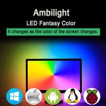 Ws2812 RGB USB Светодиодные ленты света HD ТВ монитор Настольный ПК Экран тыловая подсветка Ambilight ws2812b лента ленточная гирлянда 1 M ~ 5 м