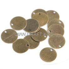 set of 500PCS 10mm antique bronze round disc tag coin drops blank charms connector lead and nickle free