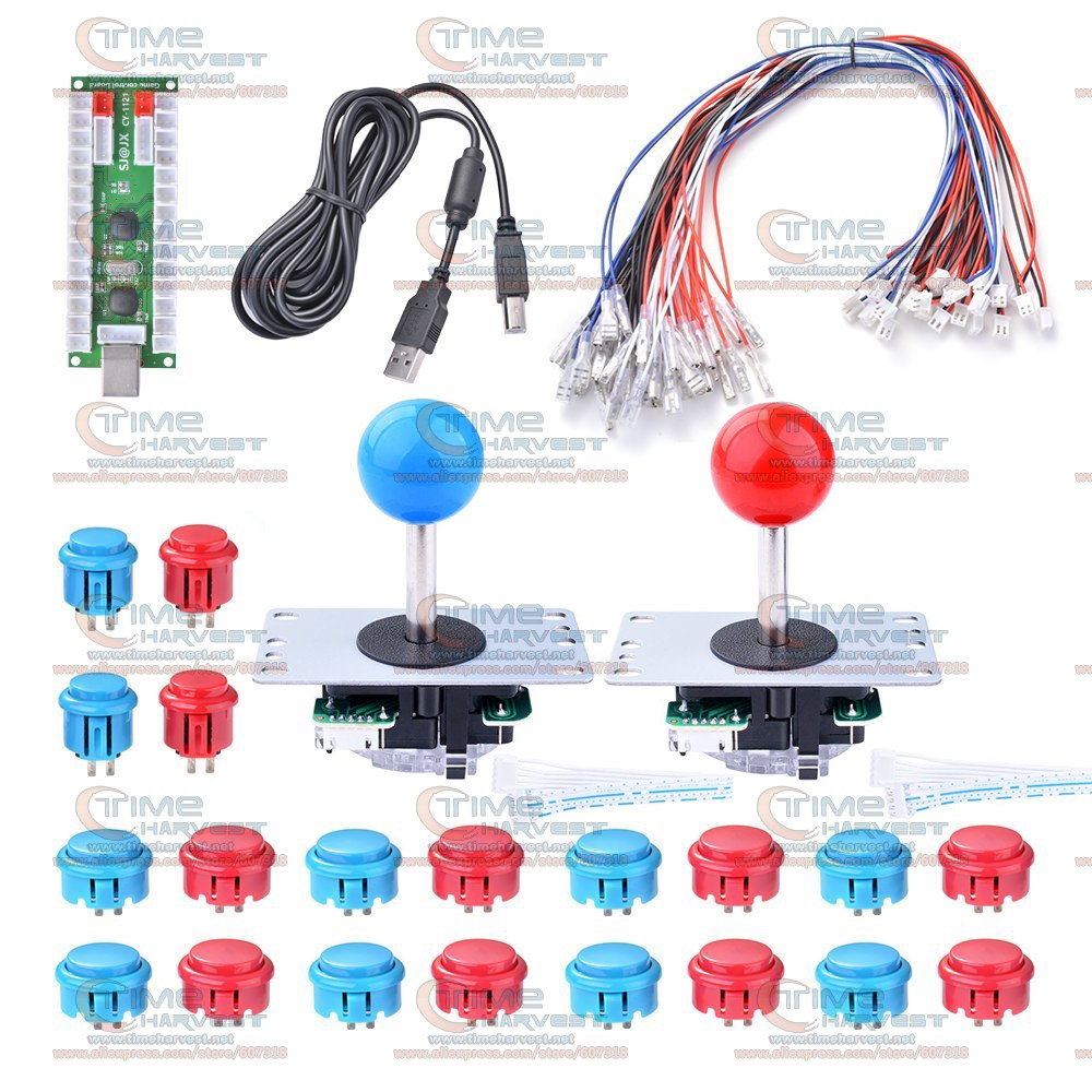US $37 8 |DIY arcade joystick handle set kits with 5 pin Joystick 24mm /  30mm push buttons spare parts USB cable for to PC joystick plate-in Coin