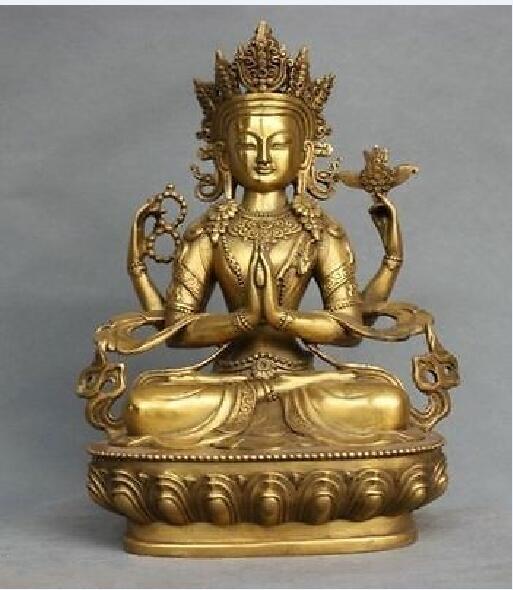 Rare China Tibet Bronze 4 Arms Kwan-yin Chenrizg Buddha StatueRare China Tibet Bronze 4 Arms Kwan-yin Chenrizg Buddha Statue