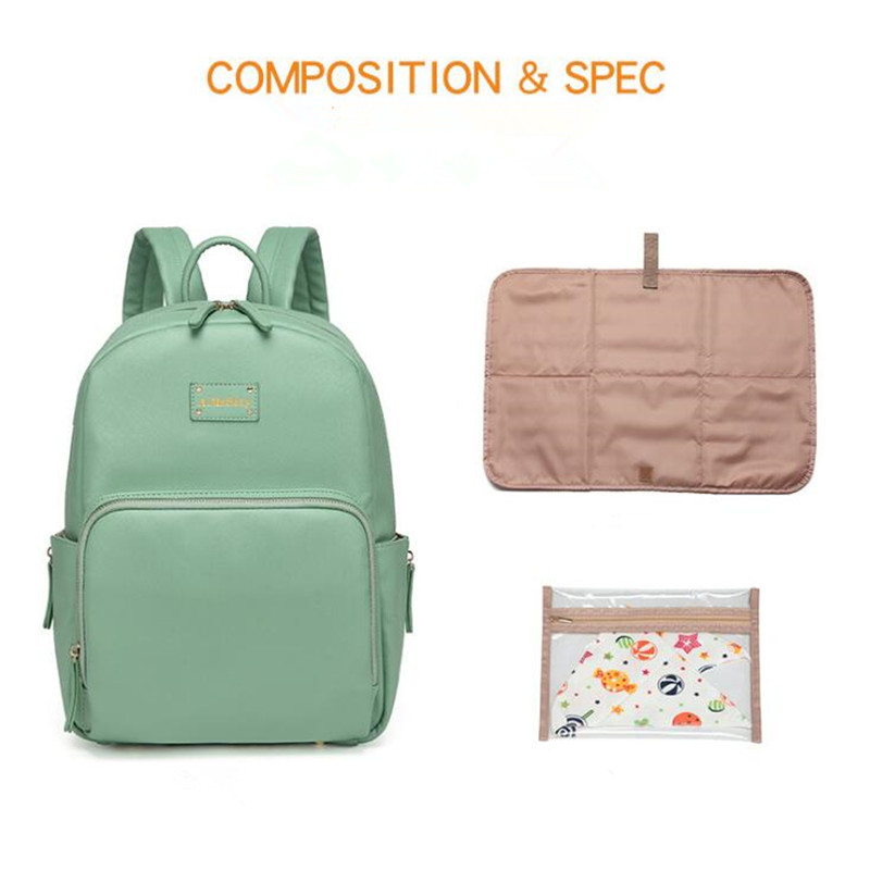 Diaper Bag Backpack PU Leather Baby Bag Organizer large Nappy Bags ...