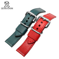 Italian Cowhide Watchband 22mm 24mm Quality Genuine Leather Strap Handmade Bracelet Mens Wristwatches Band Retro Style