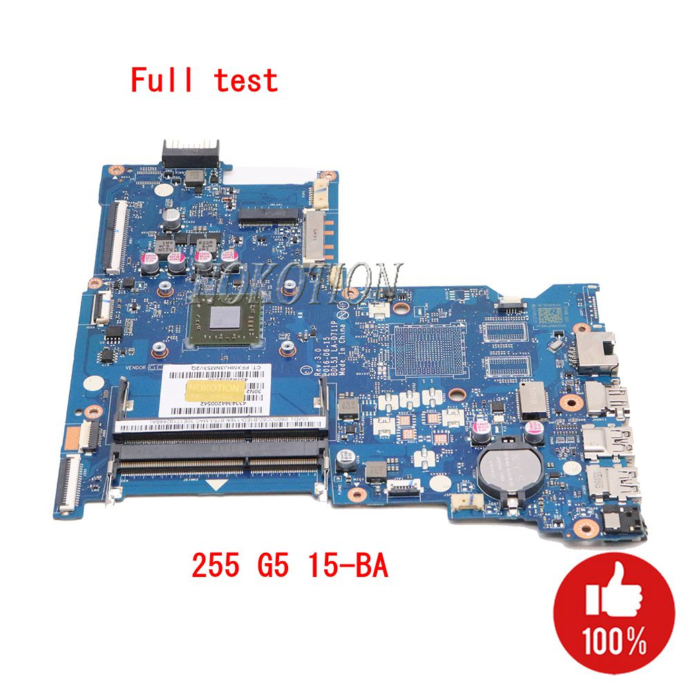 e2 7110 процессор - NOKOTION 854962-601 854962-001 Laptop Motherboard for HP 255 G5 15-BA BDL51 LA-D711P 858589-601 858589-001 Main board