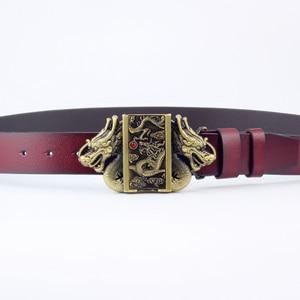 Image 3 - Cinturón de cuero con hebilla más ligera para hombre, cinturón con hebilla de dragón, de piel de vaca auténtica, encendedor de cigarrillos de gas