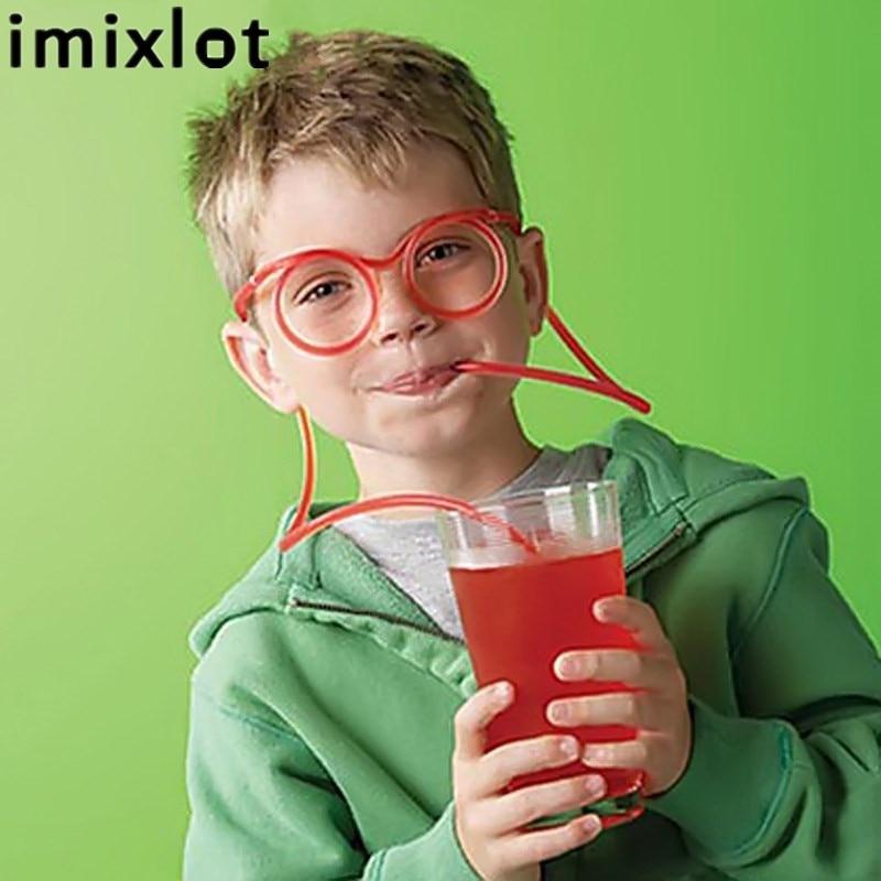 Imixlot Funny Drinking Tube Glasses Straw Drinking Glass Straws Soft Glasses Straw Unique Flexible Drinking Tube Kids Party Gift