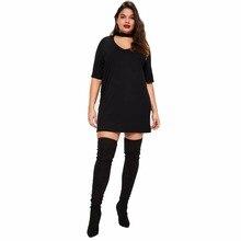 Women Clothing Dress Plus Size Dresses Black Tshirt Style Casual Dress big yards dress  leisure style Oversize Dressing 5XL 6XL