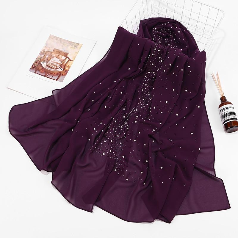 2019 New Women Bubbles Chiffon Scarf With Diamond Studs Pearls Scarf Plain Hijab Shawls Wraps Solid Color Muslim hijab