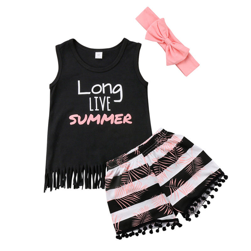 Infant Toddler Kids Girl Clothes Set Baby Tank T-Shrit+Shorts Pants+Headband 3pcs Summer Baby Clothing Outfit 2pcs set newborn floral baby girl clothes 2017 summer sleeveless cotton ruffles romper baby bodysuit headband outfits sunsuit