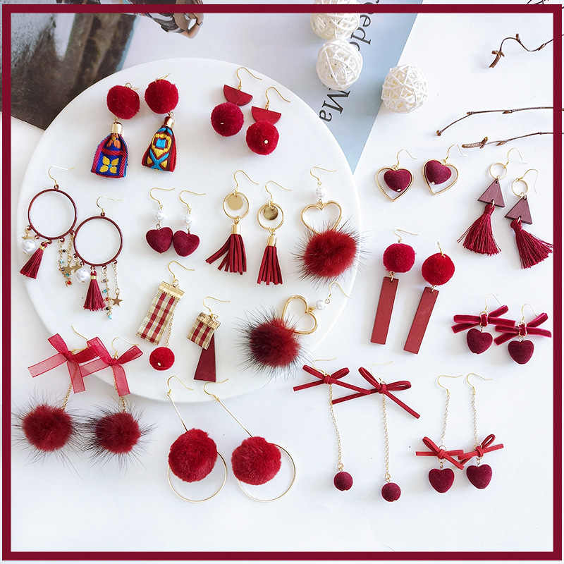 S925 sliver ear studs with wine red long tassel earrings, ball earrings, heart earrings of women