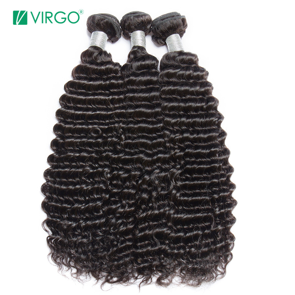 Virgo Hair Brazilian Deep Curly Hair Bundles Remy Hair Human Hair Extensions Natural Black 1B 1 / 3 / 4 Bundles