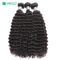 Virgo Hair Brazilian Deep Curly Hair Bundles Remy Hair Human Hair Extensions Natural Black 1B 1 / 3 / 4 Bundles