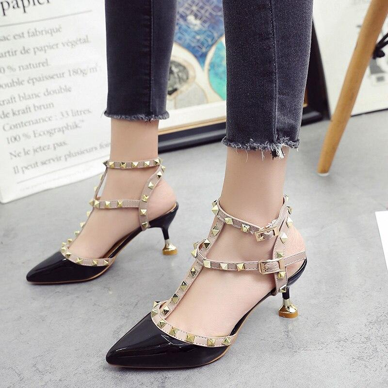 891497e3e9ef Zapatos Femme Pompes blanc nu S507 Talons Imkkg Mujer Haute Chaussures  rouge Dames Sangles 2017 Chaussure Nouveau Noir Femmes Rivets xvARXwqY