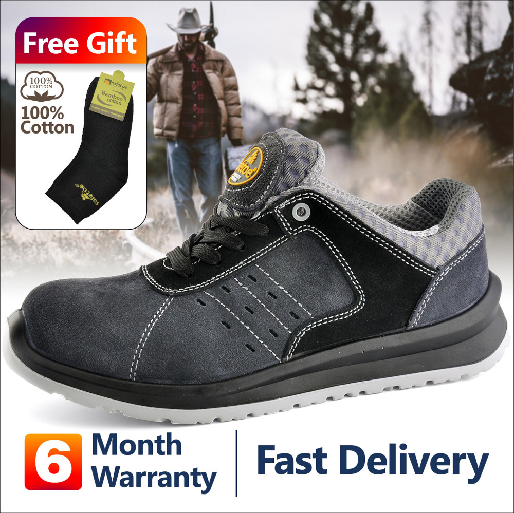 Safety Work Sports Shoes  Comfortable Toe Cow Suede Mesh Fashion Breathable Air Lace Up Durable Para Hombre De Deporte