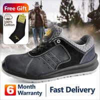 Trabajo De Seguridad deportes zapatos cómodos zapatos De dedo del pie De ante De vaca De malla transpirables De moda De aire De encaje duraderas Para Hombre De Deporte