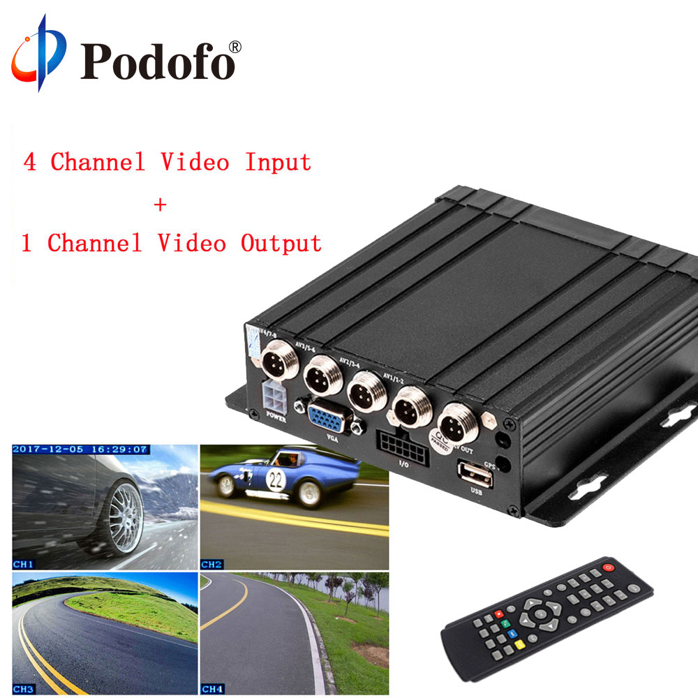 Podofo AHD 4CH Realtime Audio Video/ Input Car Mobile DVR Vehicle Hard Drive Mobile SD Embedded IR Remote Control HD Dashcam