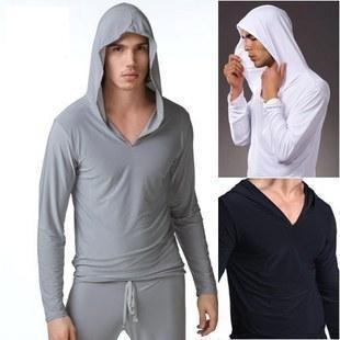 Free shipping Male male viscose long-sleeve casual sweatshirt with a hood Men's Sleep & Lounge