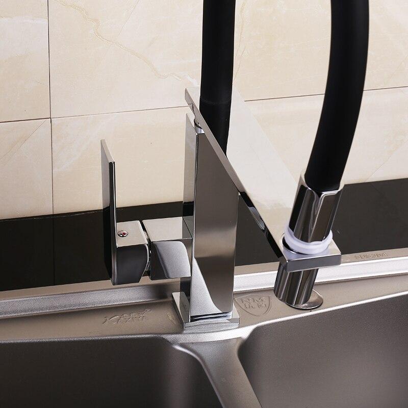 360 Swivel Massivem Messing Einzigen Handgriff Küche wasserhahn Waschbecken Mischbatterie Chrom Pinsel Nickel Herausziehen Küche Wasserhahn Deck Montiert