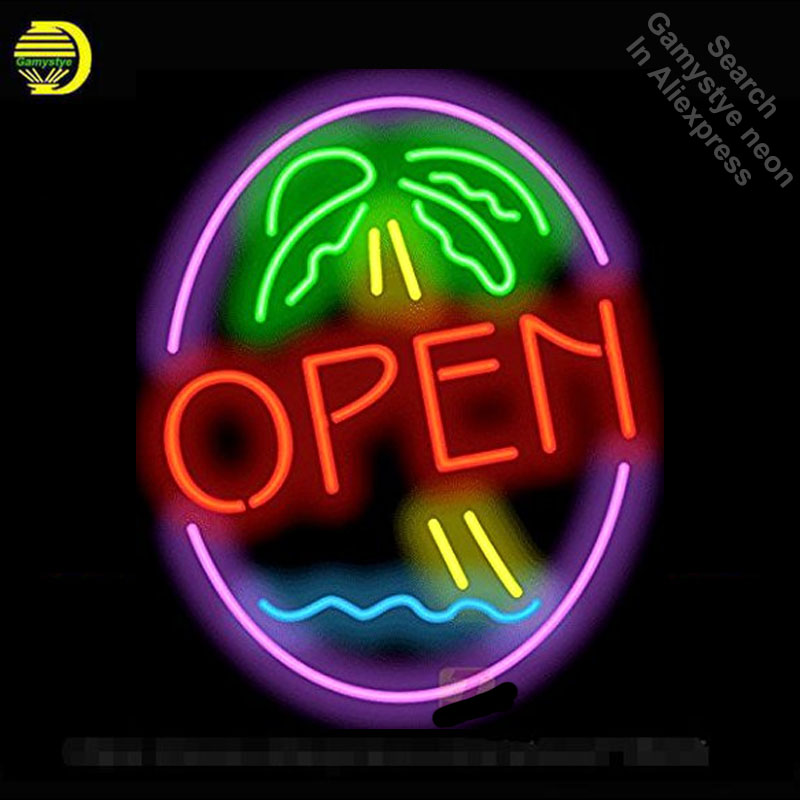 Palm Tree Open Neon Sign neon bulbs Sign neon lights Real Glass Tube Handcraft Iconic Sign store Display signboard 17X14