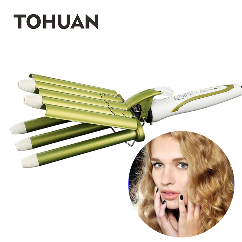 TOHUAN Fast Crimping Iron Hair Curler 5 Barrels Curling Irons Wand Ceramic Triple Barrel Egg Roll Stick Curly Hair Wave Iron