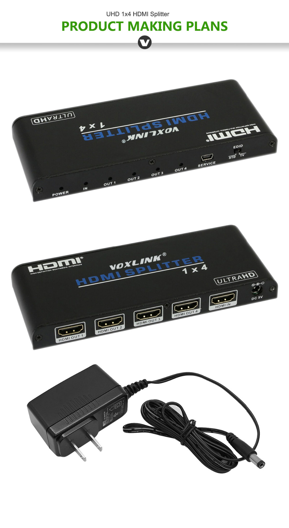 Buy Voxlink 4k2k Uhd Hdmi Splitter 1x4 1 Input 4 Wiring Diagram Ac Adaptor For Laptop Outlet Connection 2 3 5 6 8 7