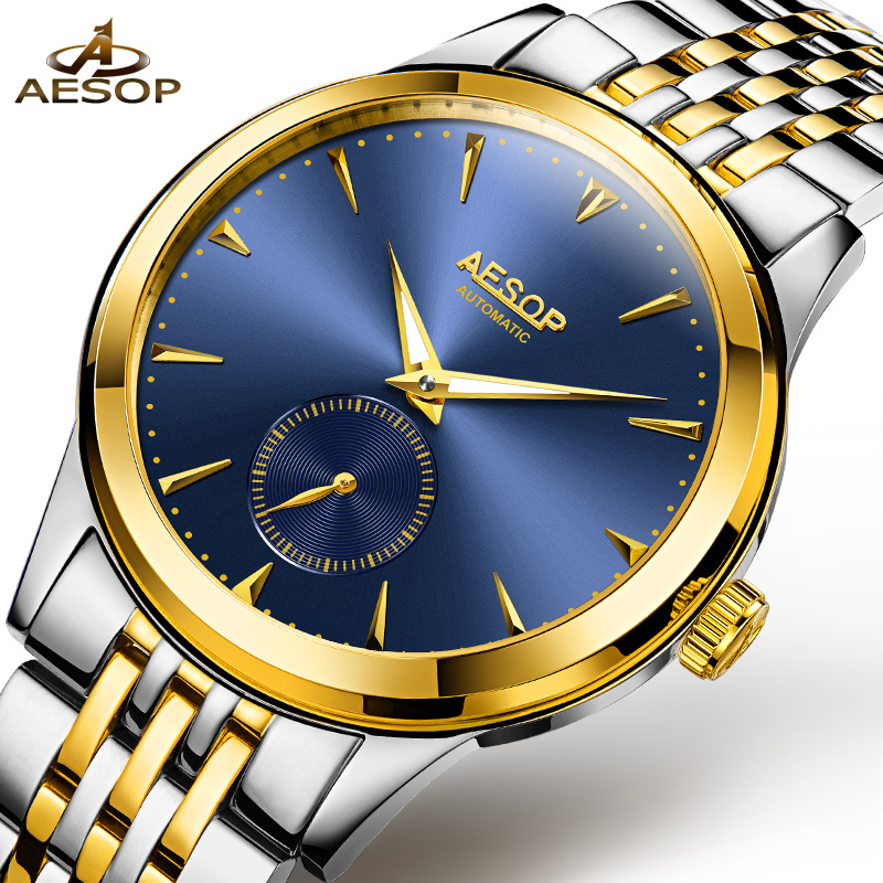 Фотография AESOP Dress Watch Men Automatic Mechanical Blue Wrist Wristwatch Stainless Steel Band Male Clock Relogio Masculino Hodinky 46