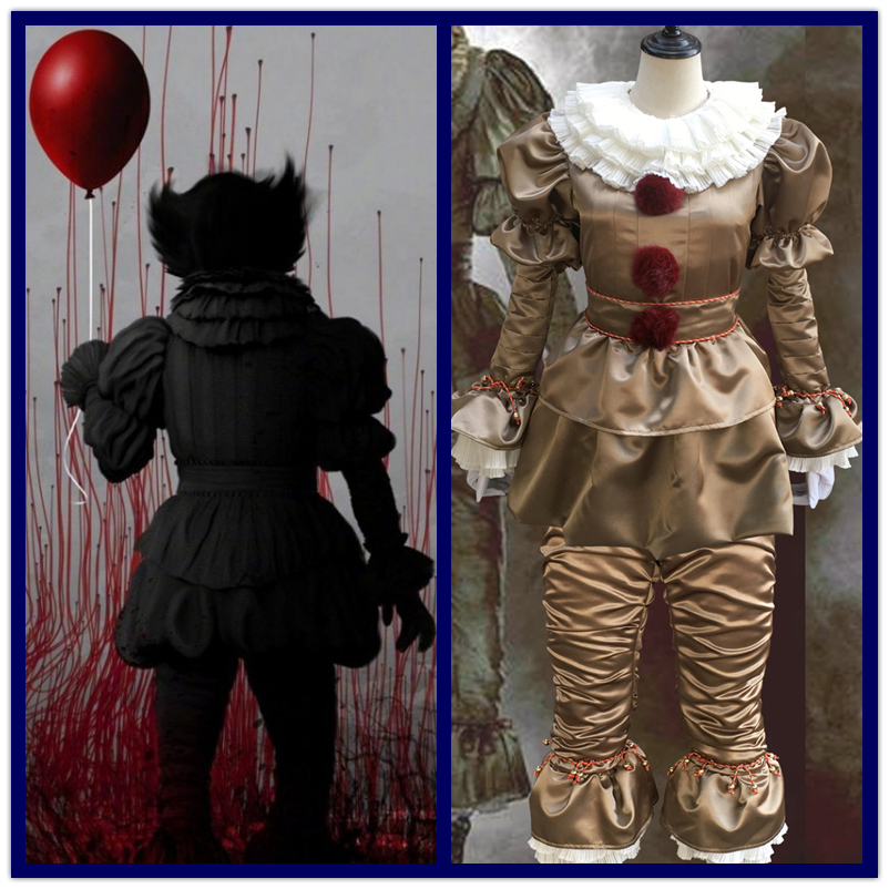 Hot Sale Movie Stephen King's It Pennywise Cosplay Costume Scary Joker Suit Custom Masquerade Made Fancy Halloween Party Prop