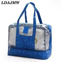 LDAJMW Wet And Dry Separation Travel Clothes Storage Bag Waterproof Wash Bag Beach Swimming Handbag Organizer