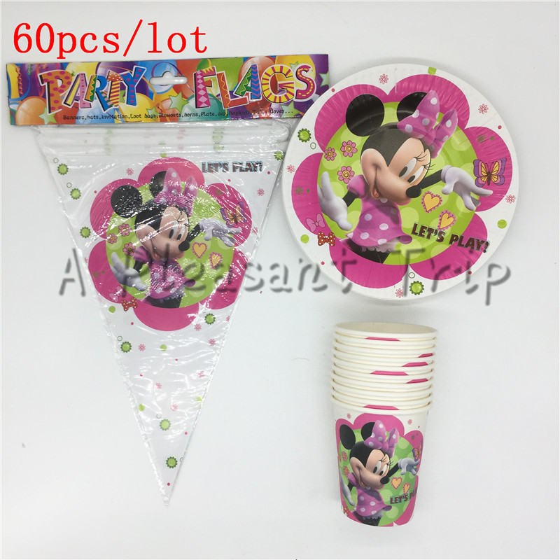 60pcs/lot Mickey Mouse Birthday Banner Minnie Mouse Party Decoration Kit Baby Supplies Suitable for 20 people Party Supplies