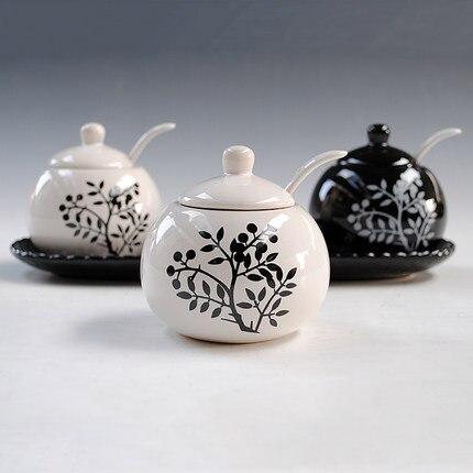 Belle bouteille d'assaisonnement en céramique 3 pièces/ensemble pot à épices noir et blanc sauce pot fournitures de cuisine conteneur de stockage réservoir - 3