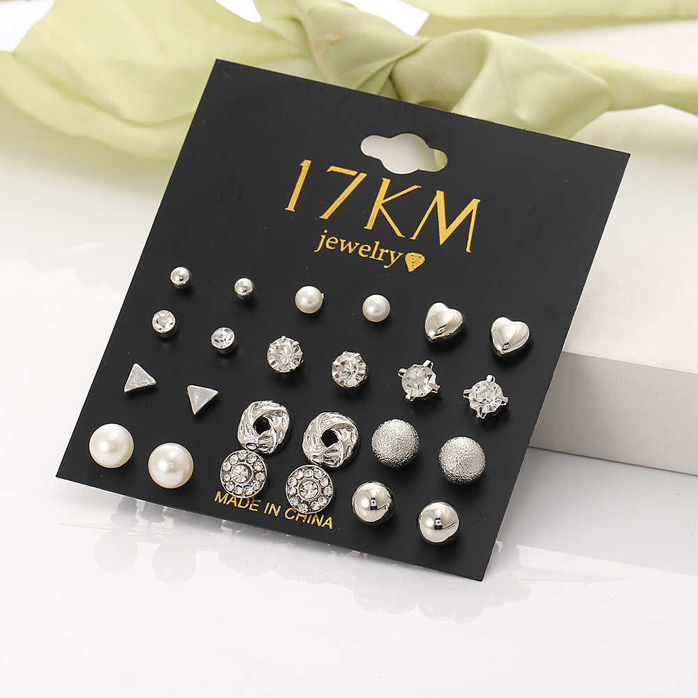 17KM Fashion 12 pair/set Trendy Style Women Square Crystal Heart Stud Earrings for Women Piercing Simulated Pearl Flower Earring