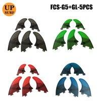 서핑 4 Pcs/5 pcs FCS 지느러미 G5 GL 핀 벌집 유리 섬유 지느러미 G5 + GL 녹색 검정 빨강 파랑 FCS Quilhas 지느러미 upsurf