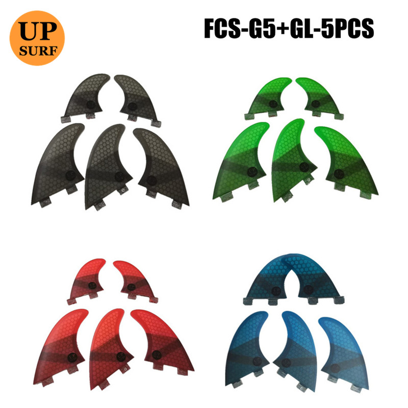 Surfing 4Pcs/5pcs FCS Fins G5 With GL Fin Honeycomb Fibreglass Fins G5+GL Green Black Red Blue FCS Quilhas Fins Upsurf